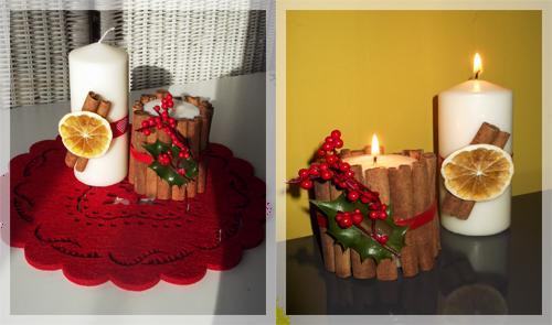 Ozdobne świąteczne świece.